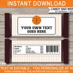 Basketball Hershey Candy Bar Wrappers | Personalized Candy Bars   Free Printable Birthday Candy Bar Wrappers