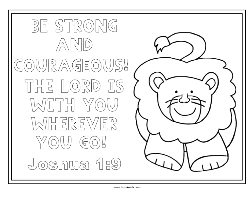 Be Strong And Courageous Free Bible Coloring Worksheet. | Church - Free Printable Bible Lessons For Toddlers