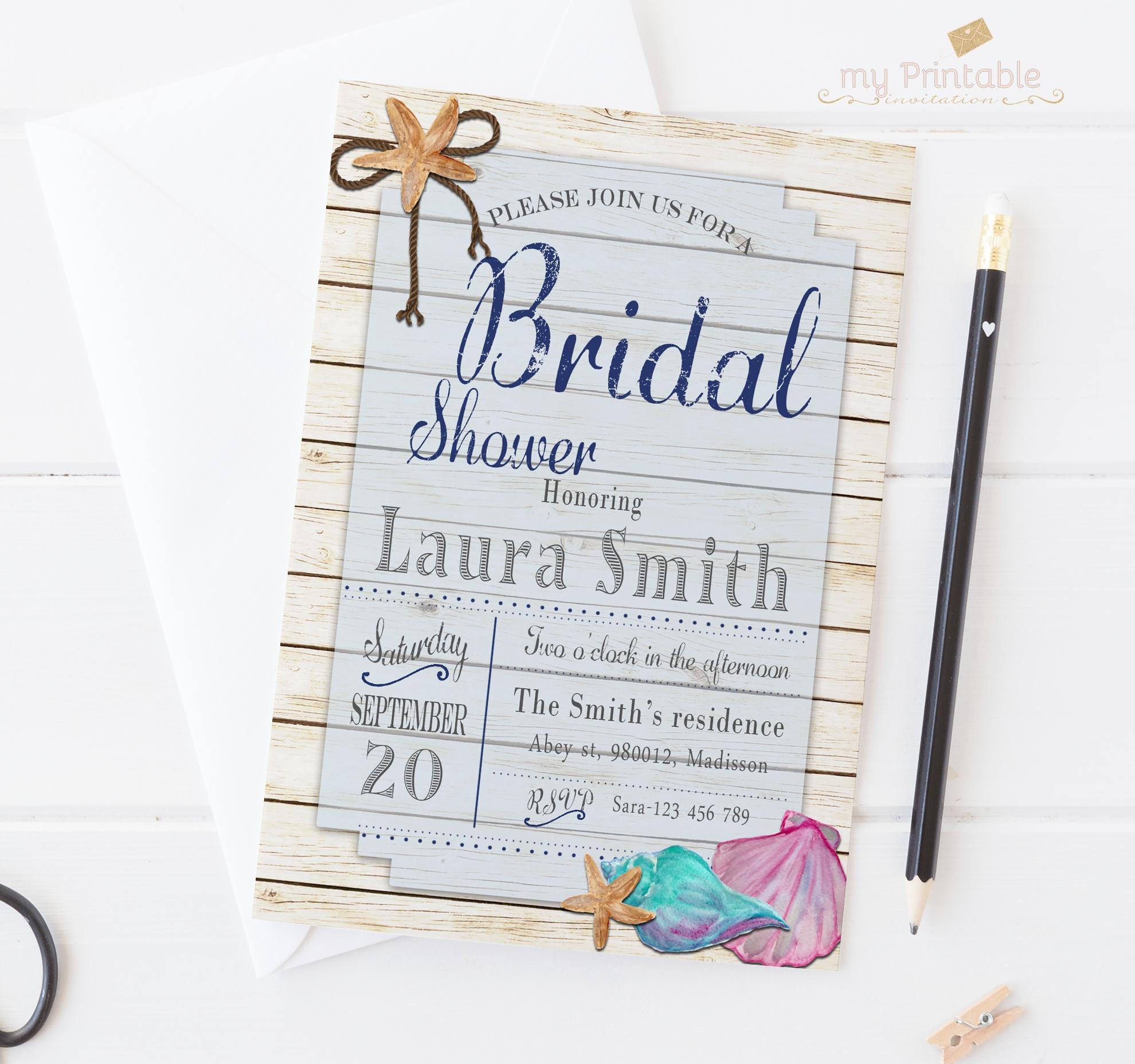 Beach Theme Bridal Shower Invitation Couples Shower Wedding | Etsy - Free Printable Beach Theme Bridal Shower Invitations