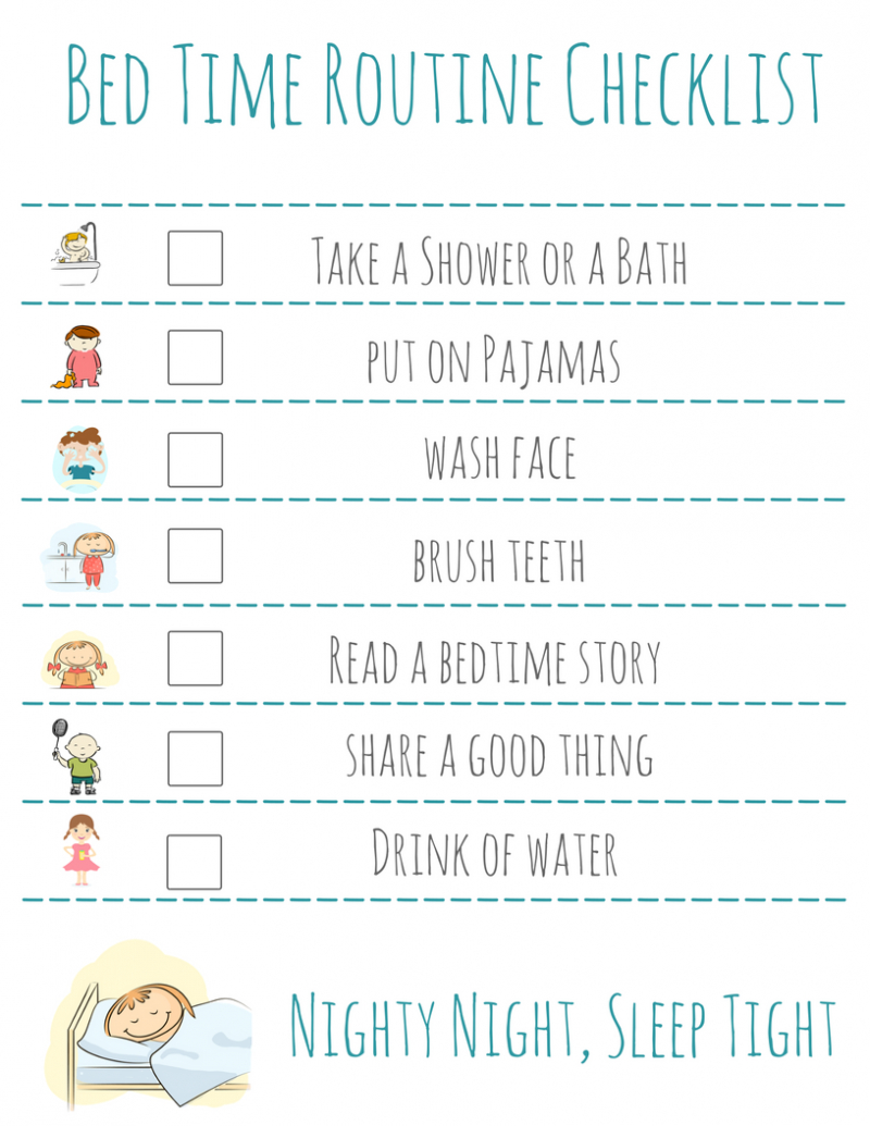 Bed Time Routine Checklist: Free Printable - - Free Printable Bedtime Routine Chart