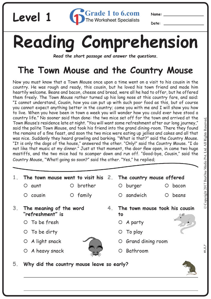 Best Math & English Worksheets / Workbooks / E-Workbooks / Grade1To6 - Free Printable English Comprehension Worksheets For Grade 4