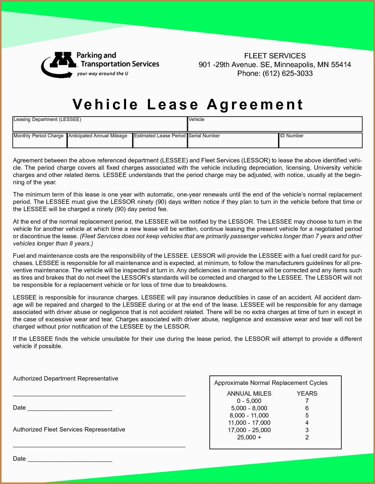 Best Of Free Vehicle Rental Agreement Template | Best Of Template - Free Printable Vehicle Lease Agreement