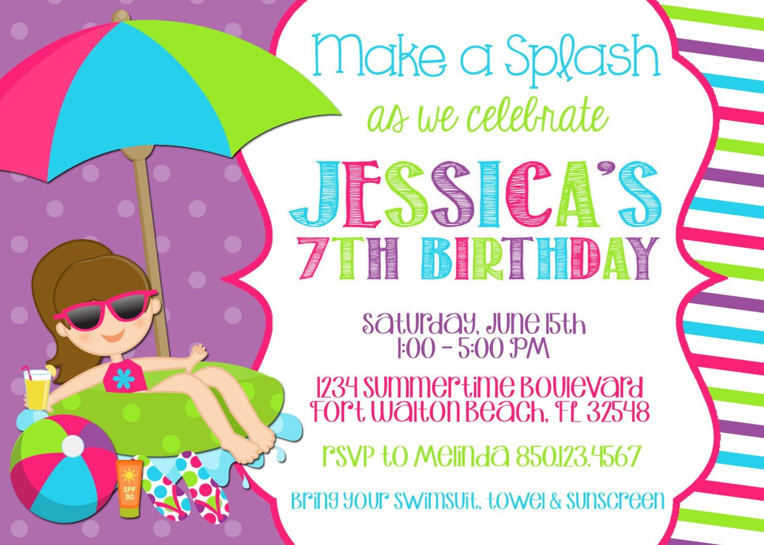 Best Pool Party Invitation Ideas | Invitations Card - Free Printable Pool Party Birthday Invitations