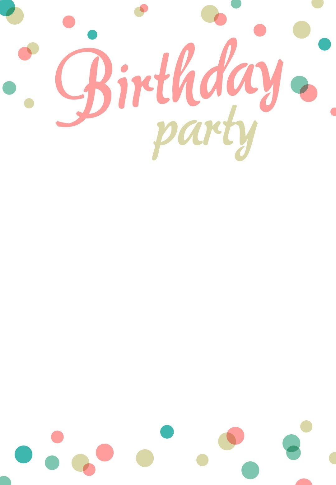 Birthday Party Dots - Free Printable Birthday Invitation Template - Customized Birthday Cards Free Printable