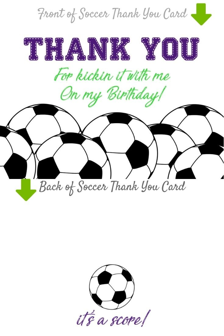 Birthday Party Thank You Cards, Purple Soccer Invitation Matching - Free Printable Soccer Thank You Cards
