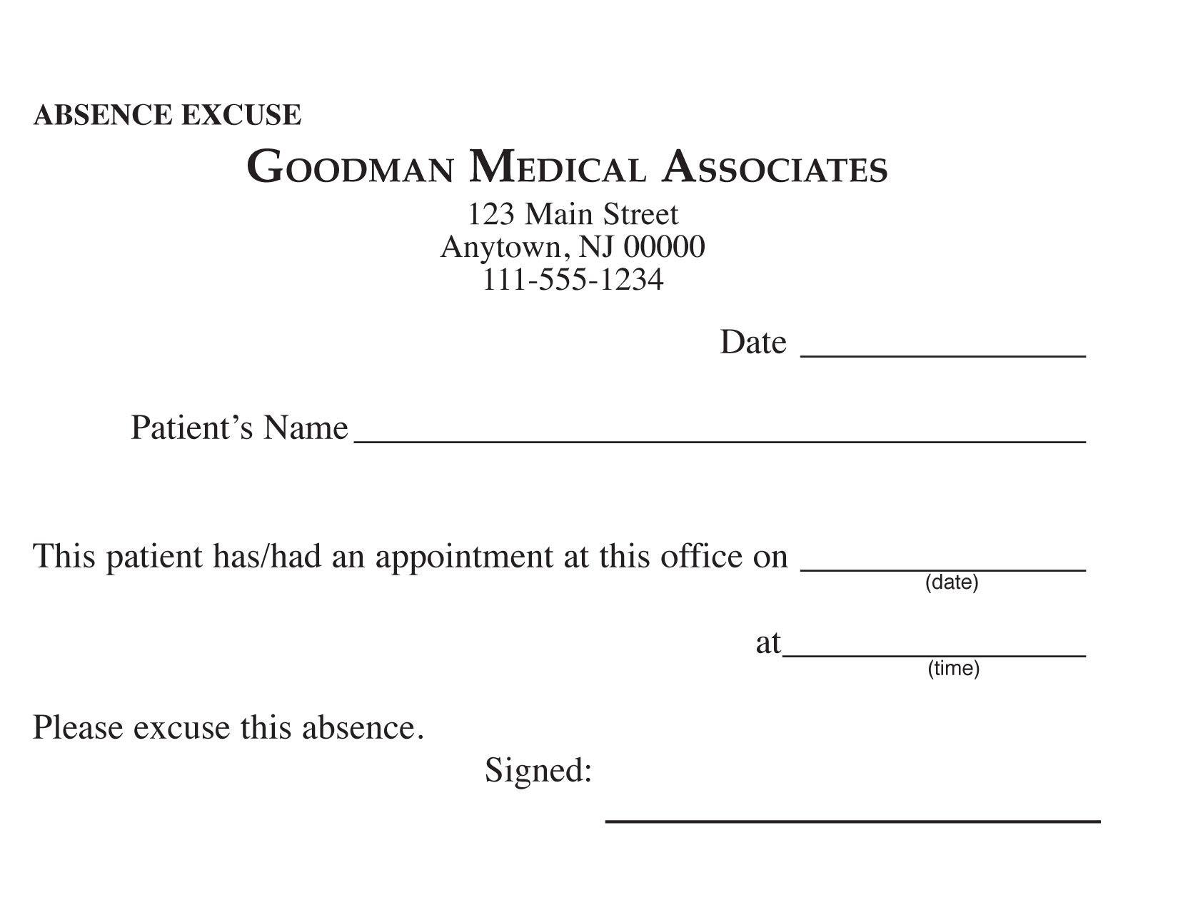 Blank Printable Doctor Excuse Form   Keskes Printing - Mds - Free Printable Doctor Excuse Notes