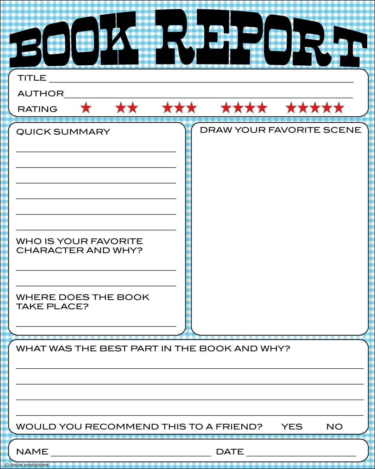 Bnute Productions: Free Printable Kids Book Report Worksheet - Free Printable Books For 5Th Graders
