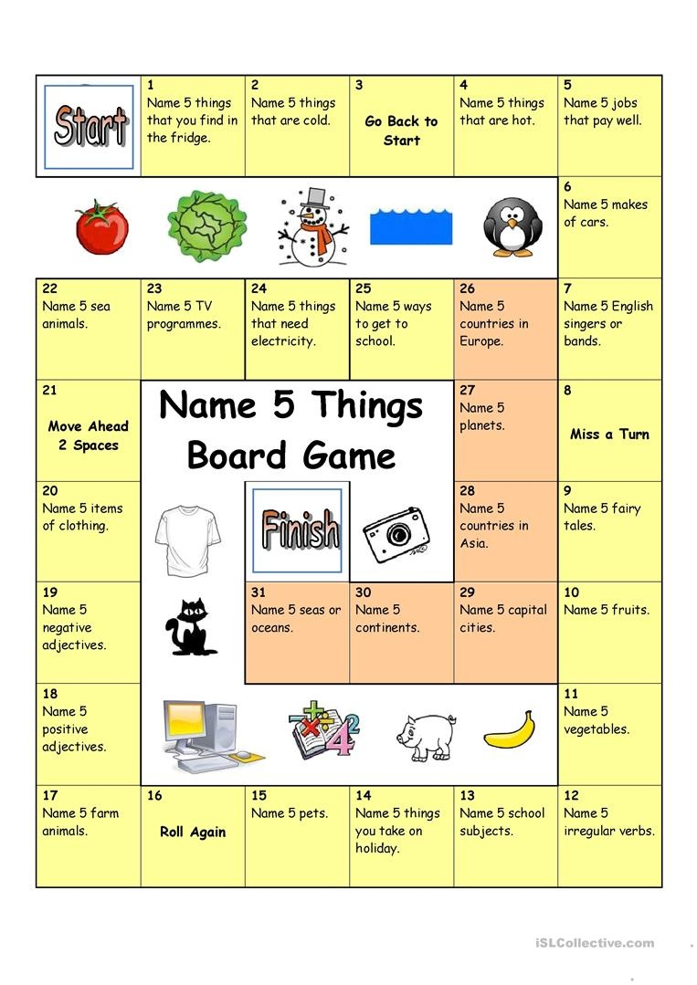 Board Game - Name 5 Things Worksheet - Free Esl Printable Worksheets - Free Printable Board Games