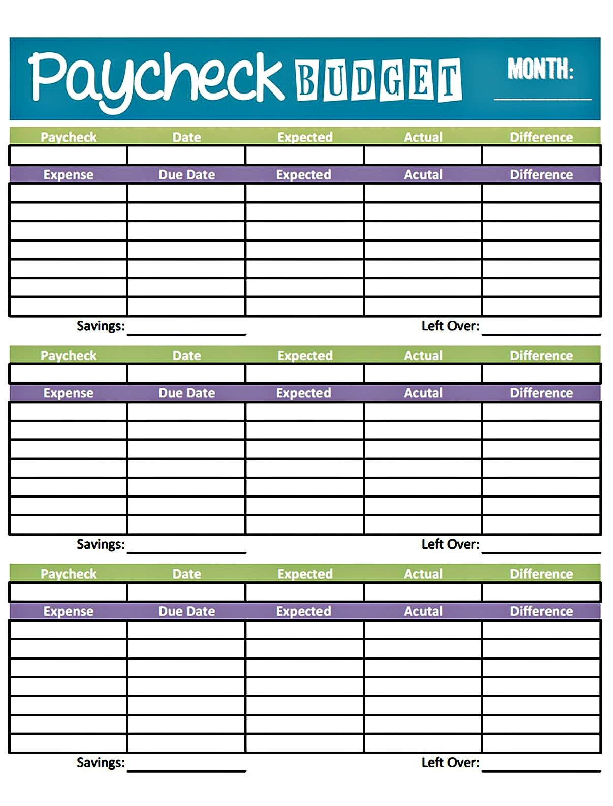 Bonfires And Wine: Livin' Paycheck To Paycheck - Free Printable - Free Printable Budget Forms