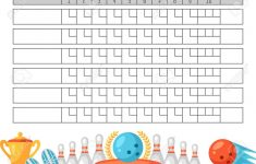 Bowling Score Sheet. Blank Template Scoreboard With Game Objects – Free Printable Bowling Score Sheets