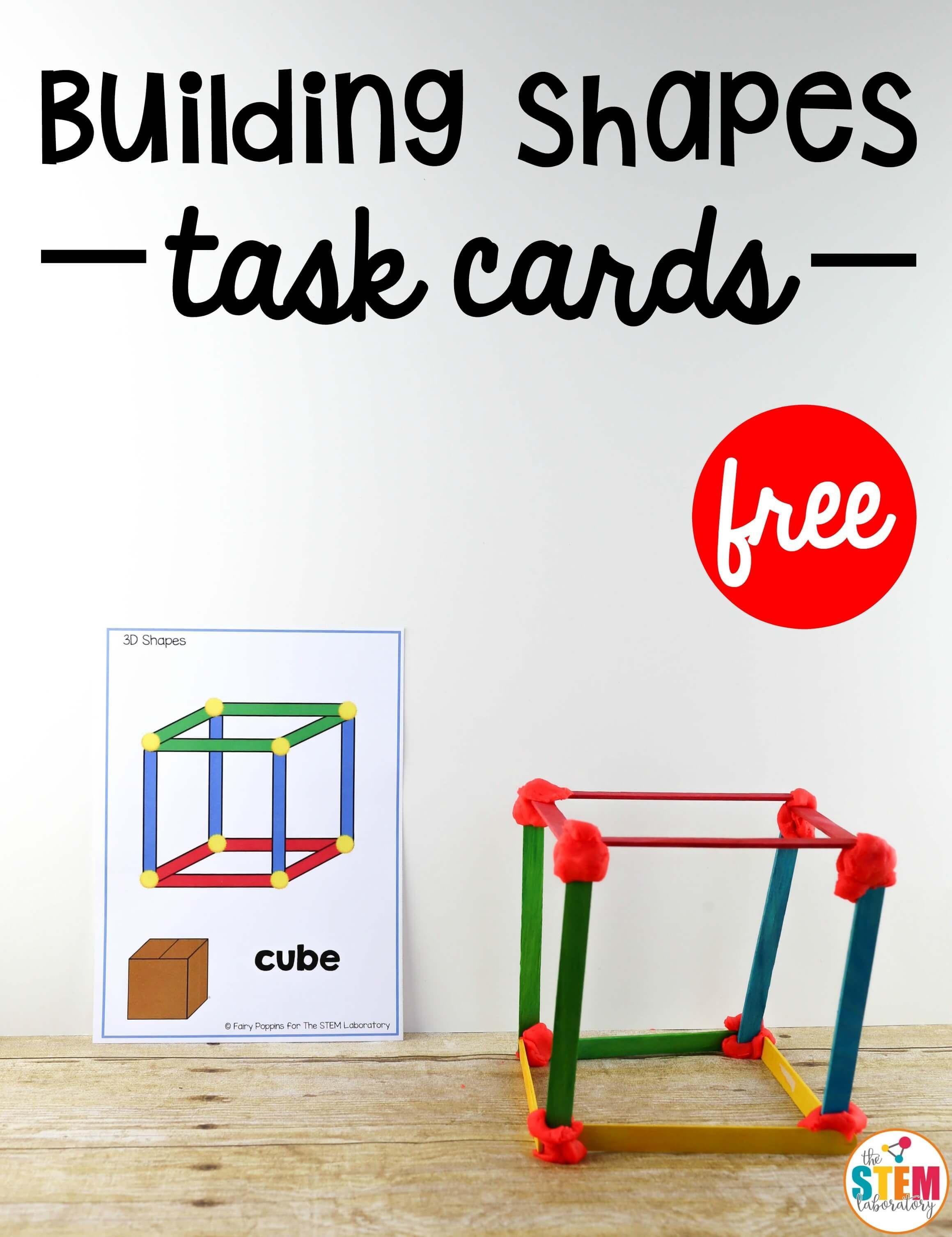 Building Shapes Stem Cards - The Stem Laboratory - Free Printable Kindergarten Task Cards