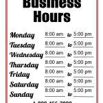 Business Hours Template | Templates At Allbusinesstemplates   Free Printable Business Hours Sign