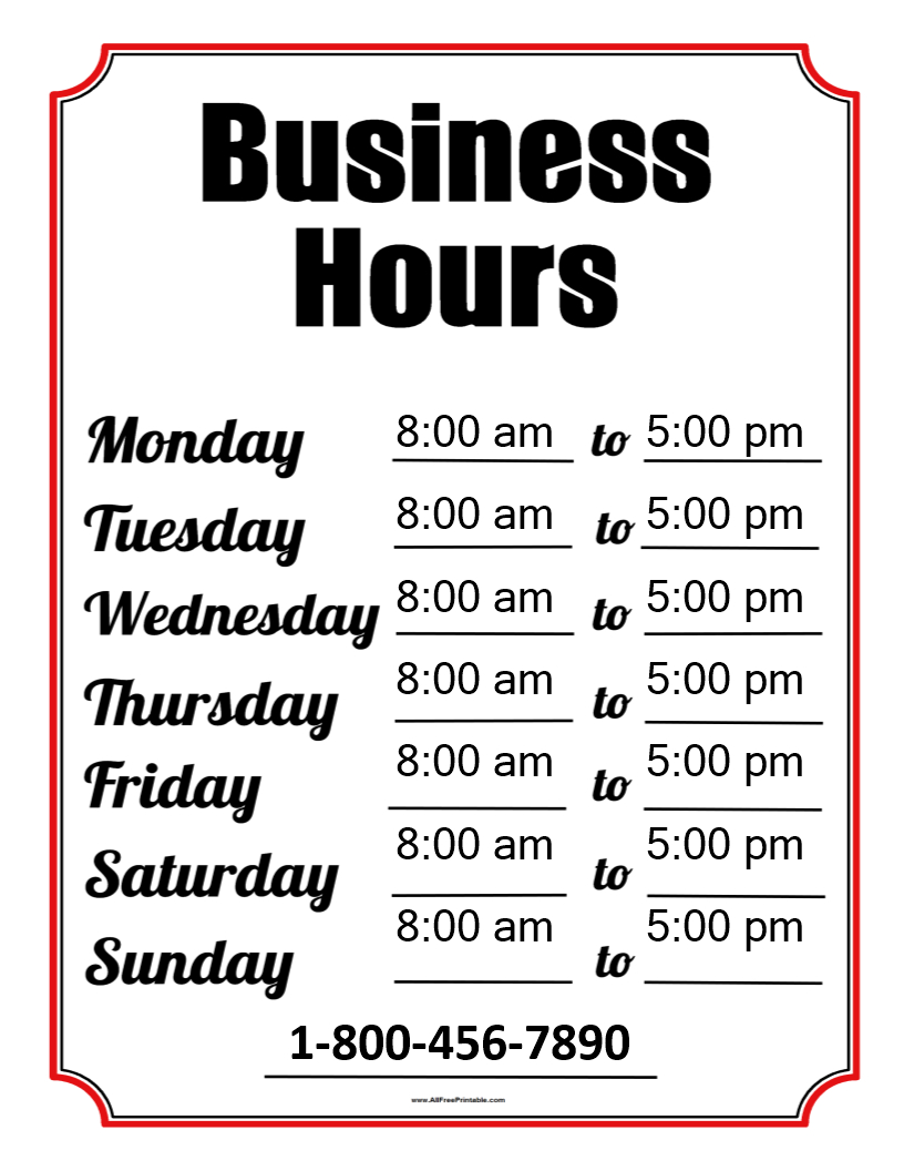 Business Hours Template | Templates At Allbusinesstemplates - Free Printable Business Hours Sign