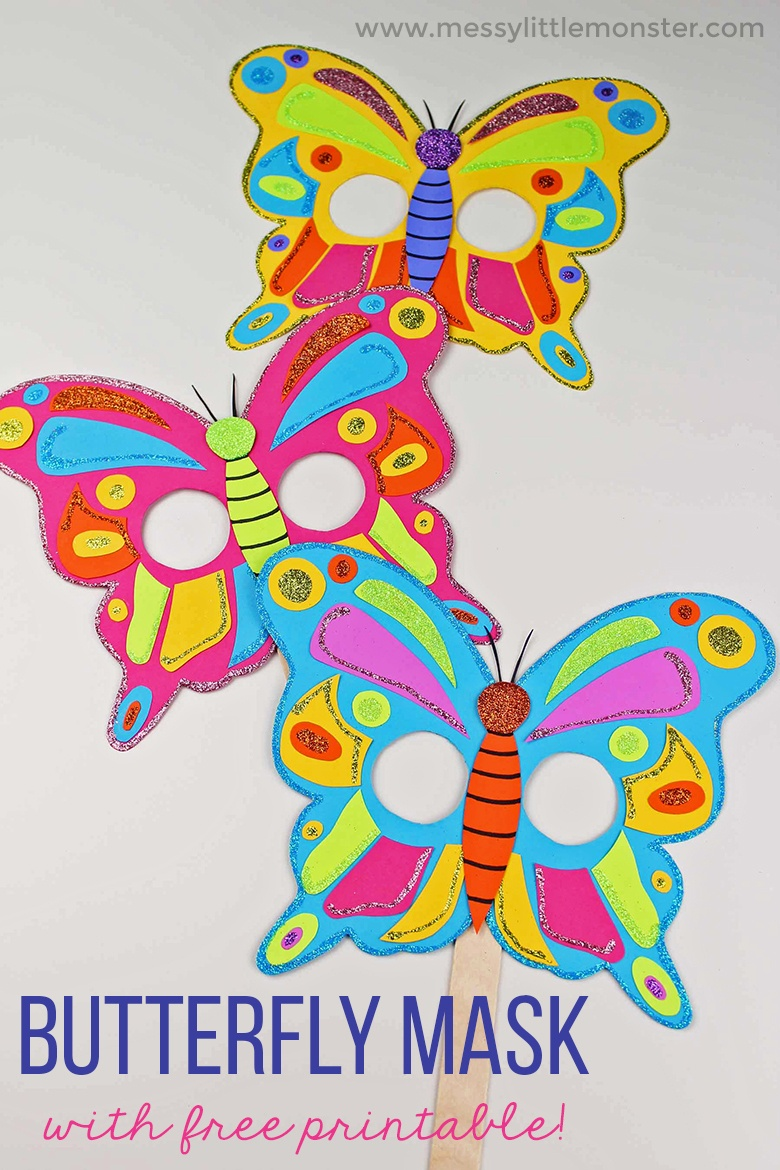 Butterfly Mask Craft With Free Printable Butterfly Template - Messy - Free Printable Butterfly