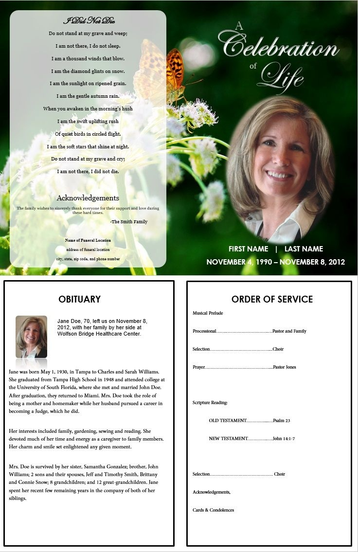 Butterfly Memorial Program | Memorials | Funeral Memorial, Memorial - Free Printable Memorial Card Template