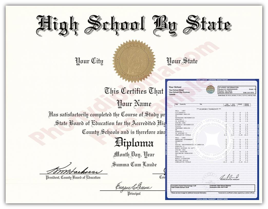 Buy Usa High School Diplomas & Transcript Package Designsstate - Free Printable Ged Transcripts