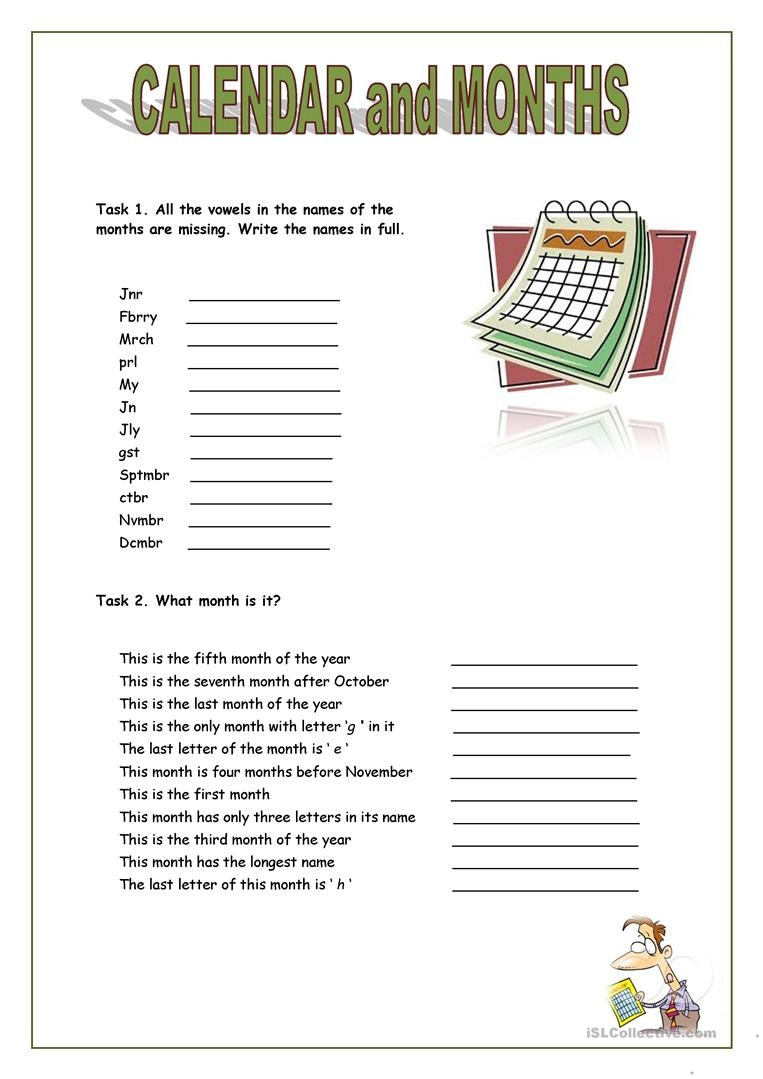 Calendar And Months Worksheet - Free Esl Printable Worksheets Made - My Spelling Dictionary Printable Free