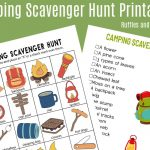 Camping Scavenger Hunt   Printables For Two Age Groups!   Free Printable Scavenger Hunt