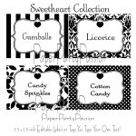 Candy Buffet Printable Editable Party Labels Or Tags Black And White   Free Printable Food Tags For Buffet