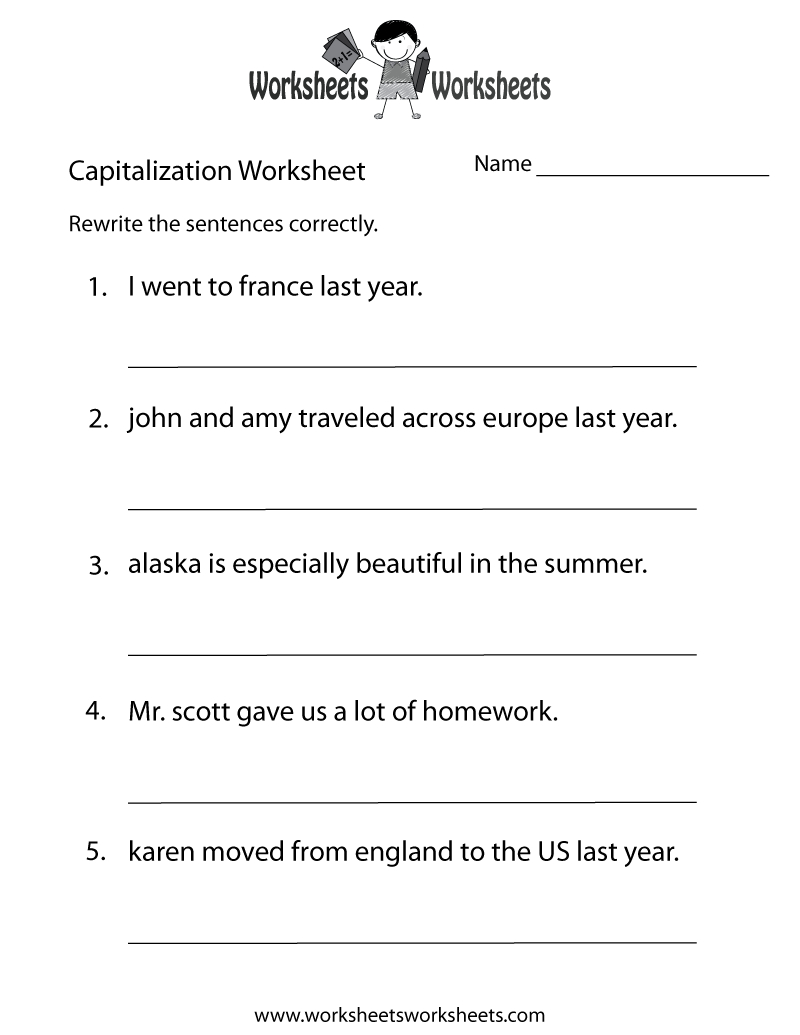 Capitalization Worksheets   Capitalization Practice Worksheet - Free - Free Printable Third Grade Grammar Worksheets