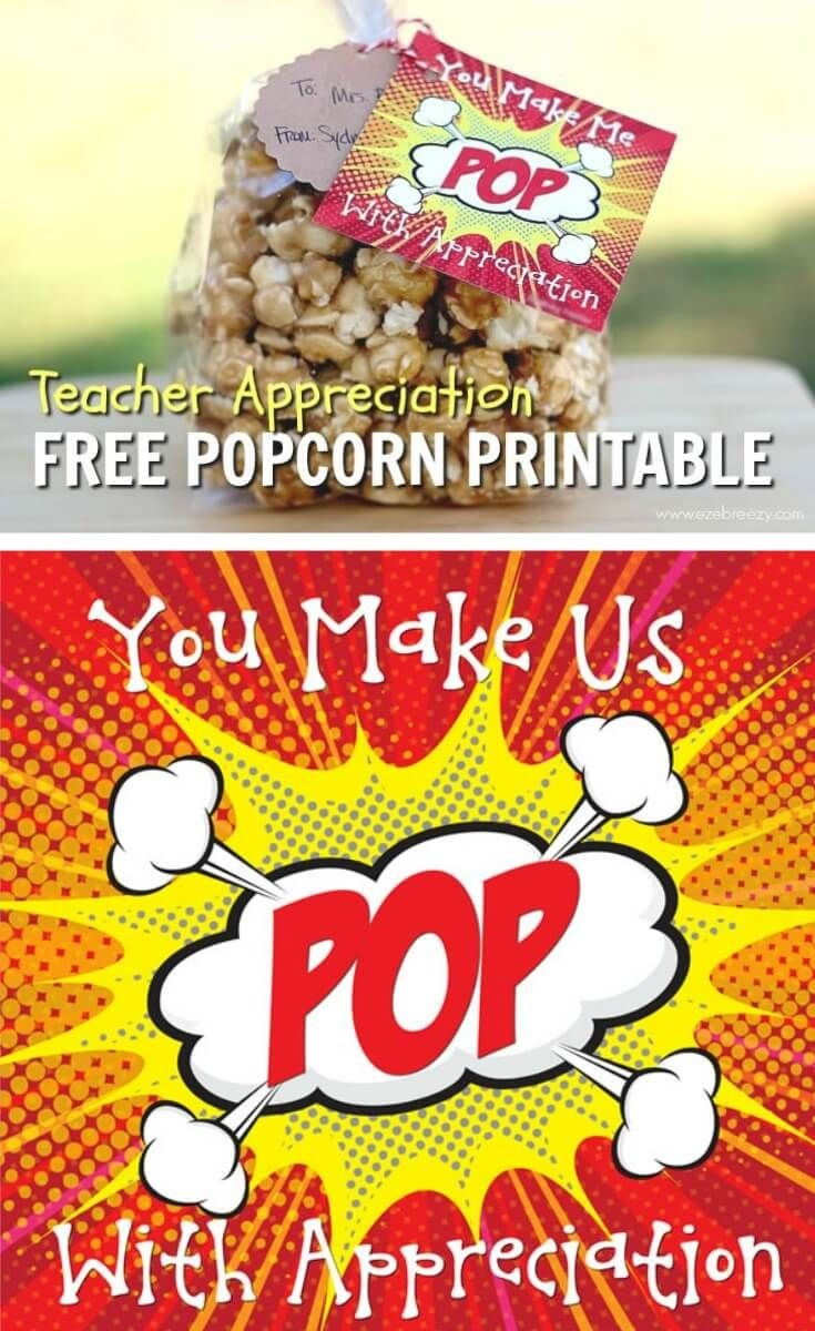 Caramel Popcorn | Recipe | Gift Ideas | Teacher Appreciation - Free Popcorn Teacher Appreciation Printable