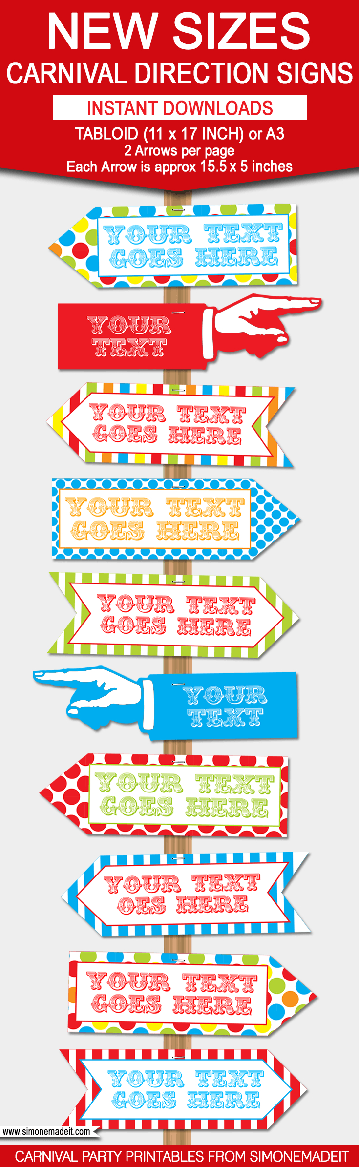 Carnival Directional Sign Templates – New Sizes! | Circus/carnival - Free Printable Carnival Decorations