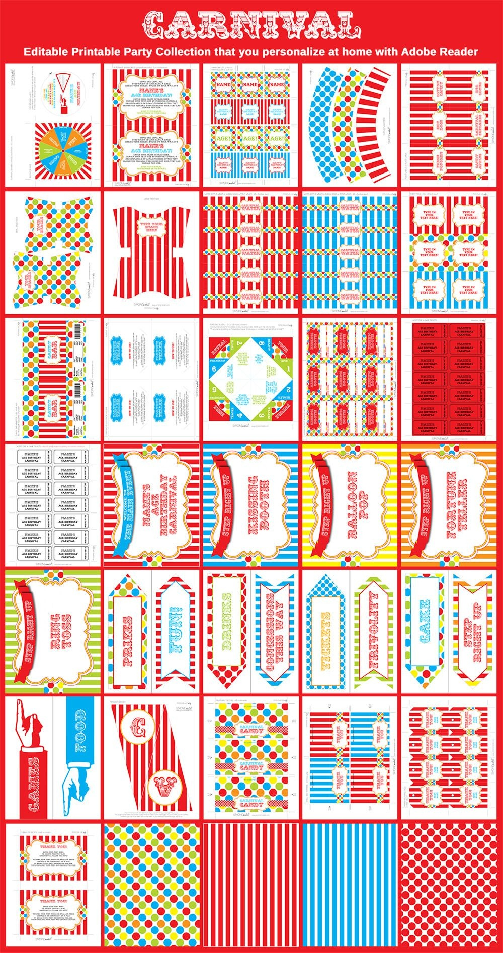 Carnival Party Printables, Invitations & Decorations – Colorful - Free Printable Carnival Decorations