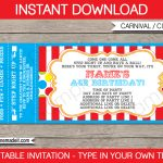 Carnival Party Ticket Invitation Template | Carnival Or Circus   Free Printable Ticket Invitation Templates