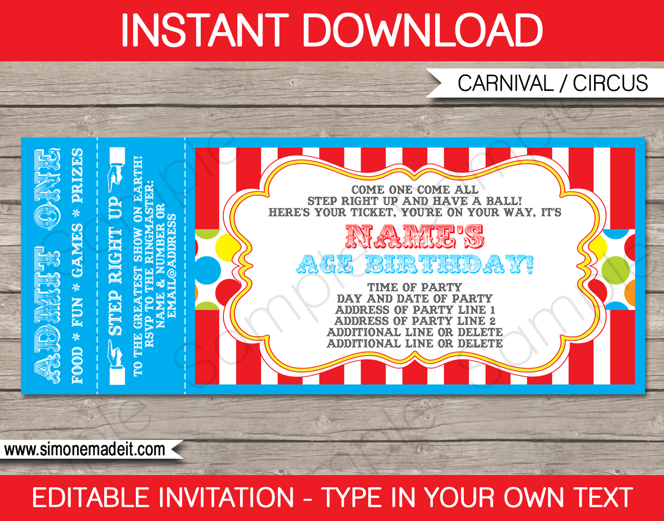 Carnival Party Ticket Invitation Template | Carnival Or Circus - Free Printable Ticket Invitation Templates