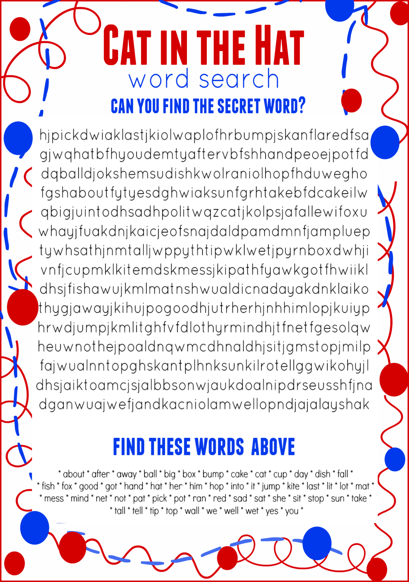 Cat In The Hat Word Search Free Printable Dr. Seuss Birthday - Free Printable Cat In The Hat Pictures