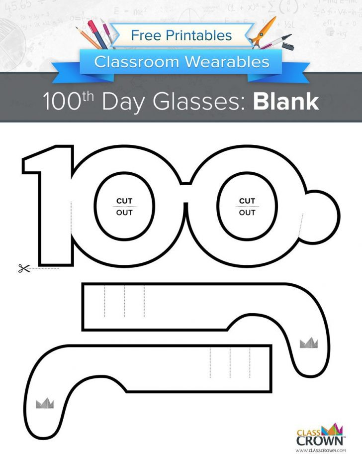 100Th Day Of School Printable Glasses Free