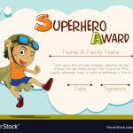 Certificate Template With Boy Being Superhero Vector Image   Free Printable Superhero Certificates