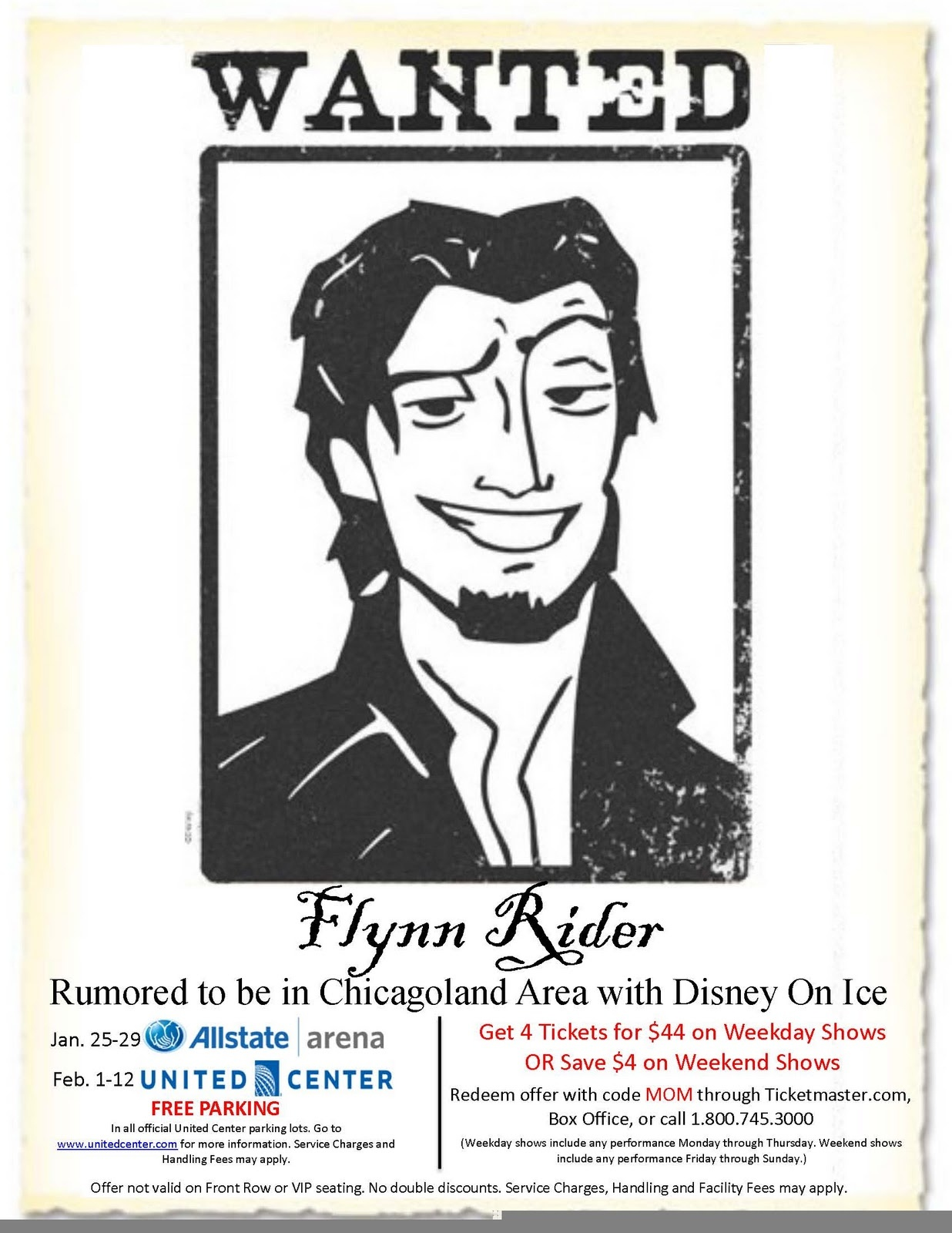 Chiil Mama : Disney On Ice Dare To Dream-Win 4 Free Tickets Or A $40 - Free Printable Flynn Rider Wanted Poster