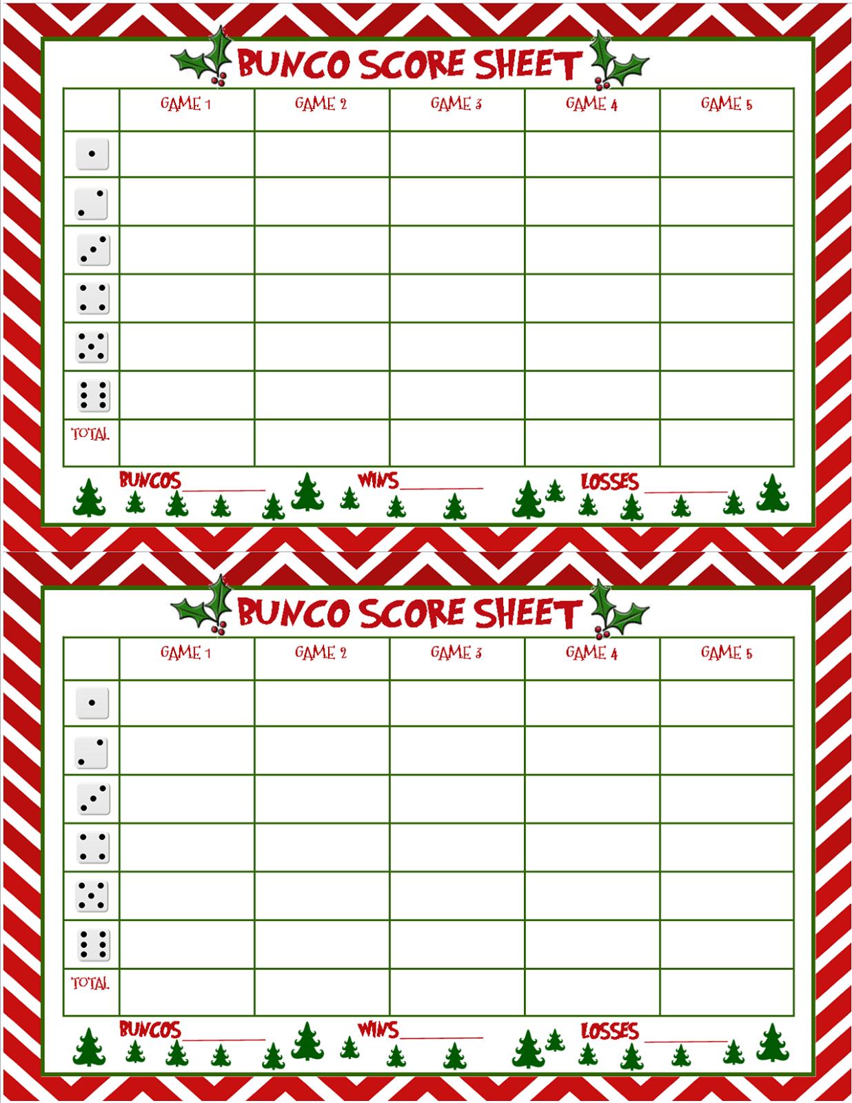 Christmas Bunco Score Sheets Free   Bunco   Bunco Score Sheets - Printable Bunco Score Cards Free
