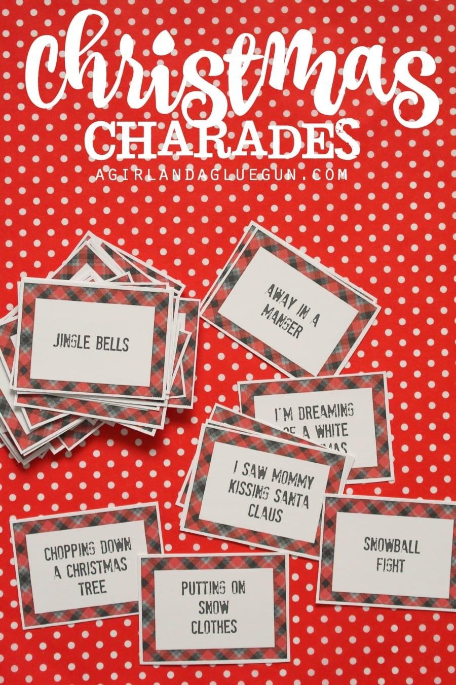 Christmas Charades Game And Free Printable Roundup! - A Girl And A - Free Printable Christmas Pictionary Words