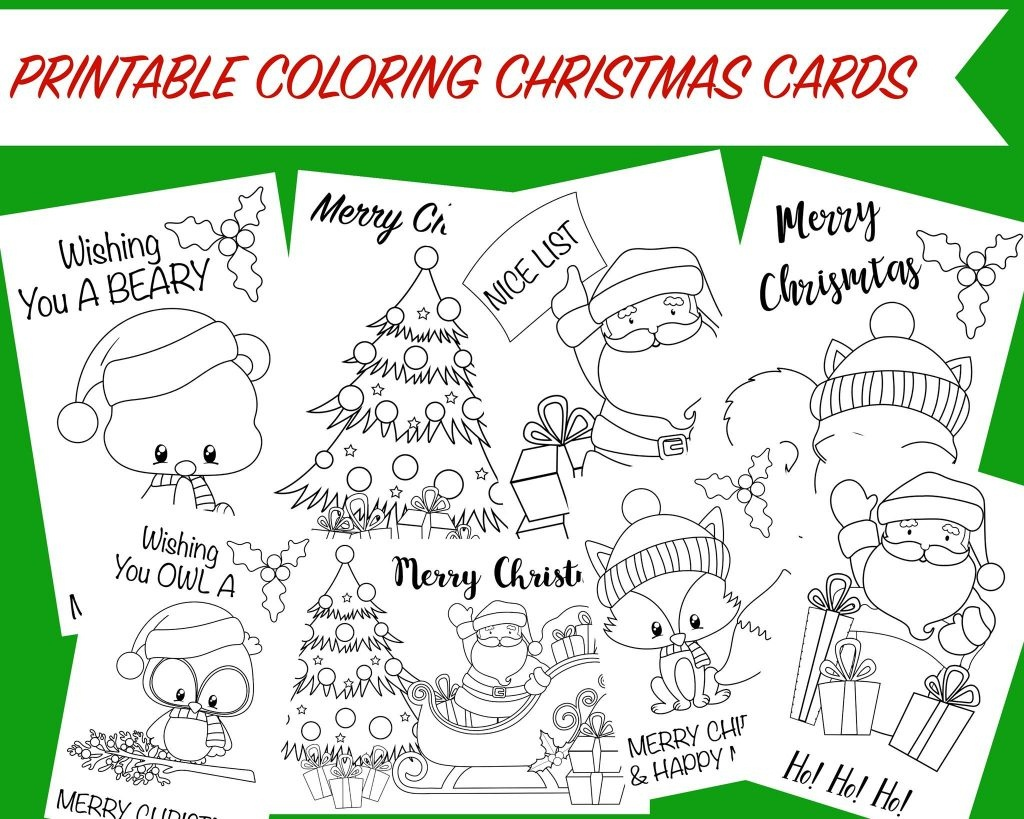 Christmas Coloring Cards - Free Printable Christmas Activity For Kids - Free Printable Christmas Pictures