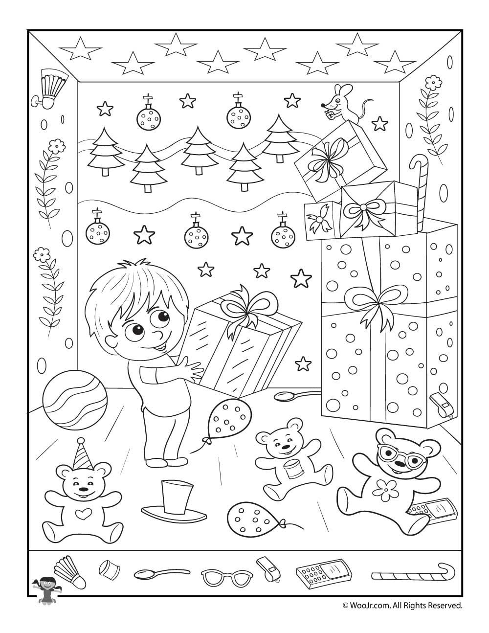 Christmas Gifts Hidden Picture Printable Activity   Merry Christmas - Free Printable Christmas Hidden Picture Games