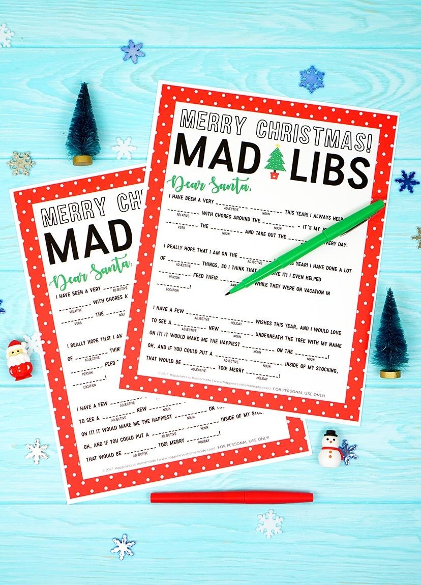 Christmas Mad Libs Printable - Happiness Is Homemade - Christmas Mad Libs Printable Free