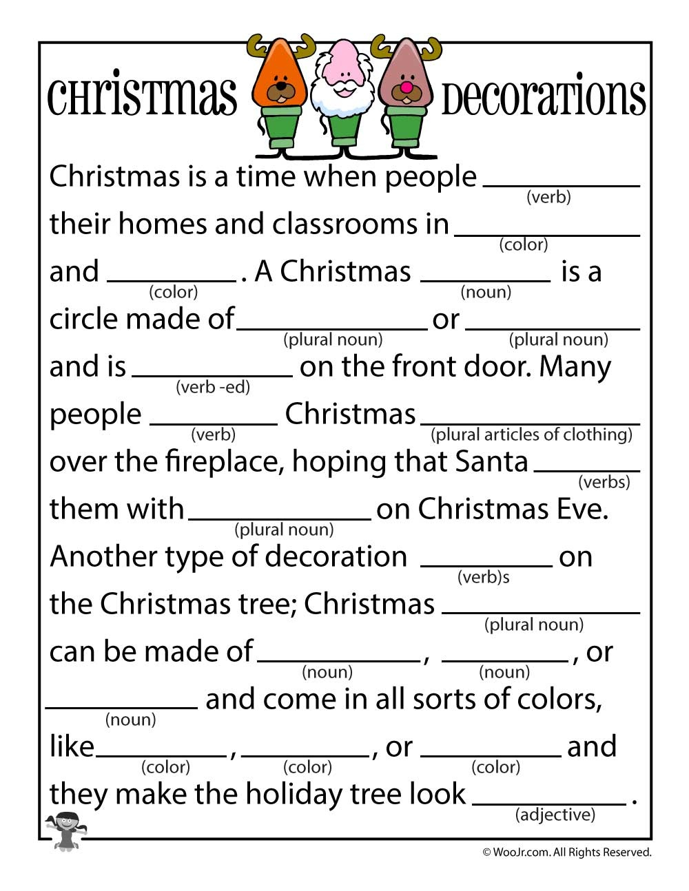 Christmas Mad Libs | Woo! Jr. Kids Activities - Free Printable Mad Libs For Middle School Students