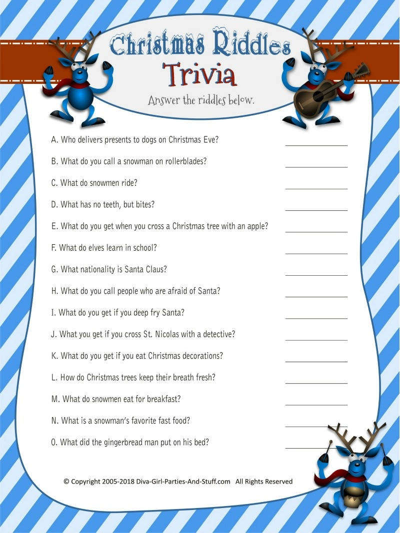 Christmas Riddles Trivia Game | 2 Printable Versions With Answers - Free Printable Riddles
