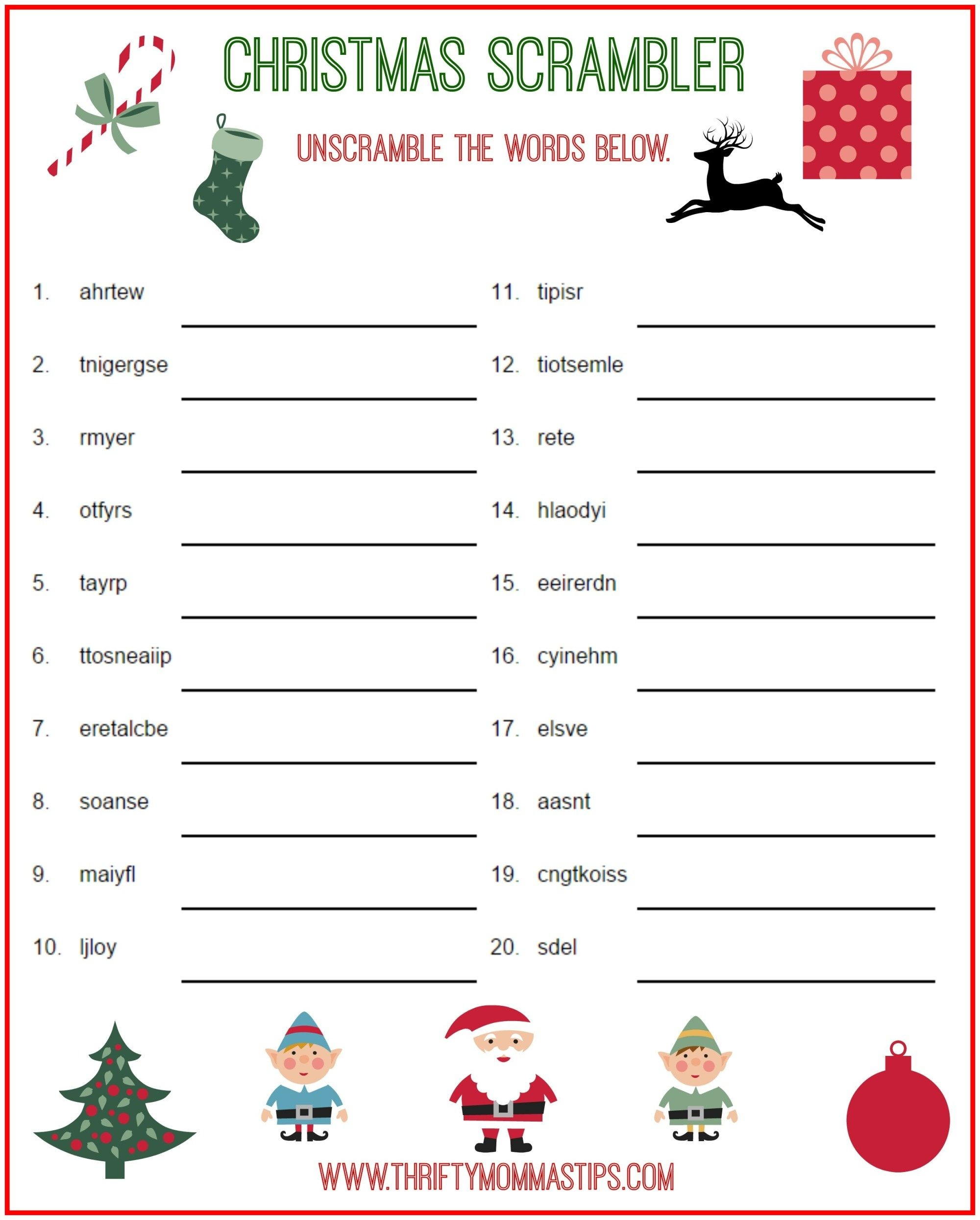 Christmas Scrambler Free Kids Puzzle Printables | Christmas Family - Free Printable Christmas Games And Puzzles