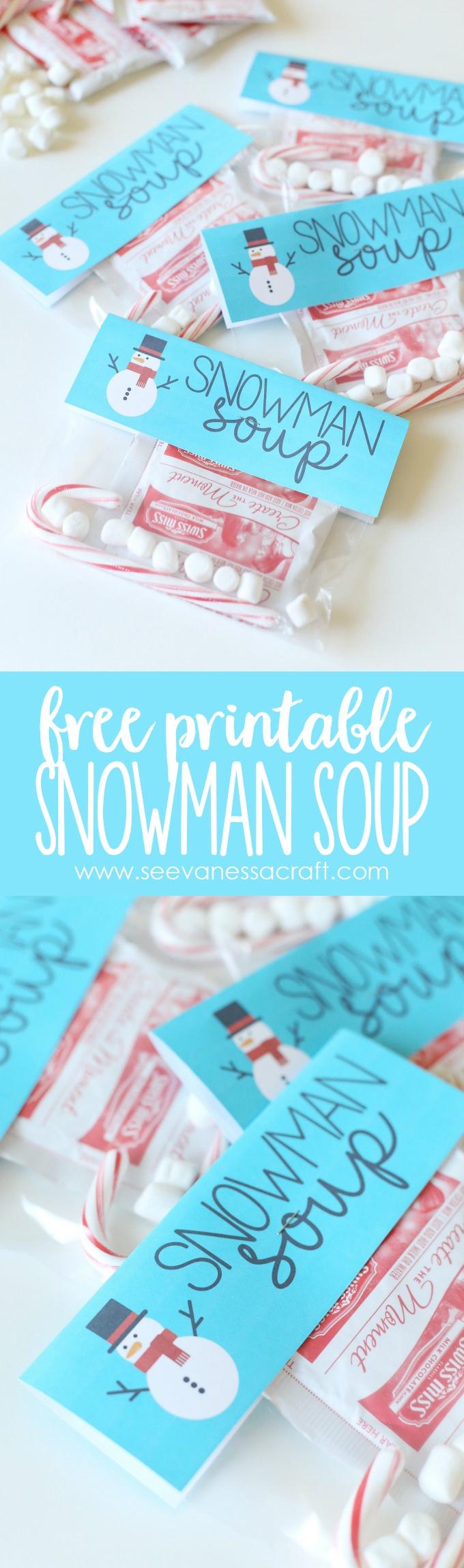 Christmas: Snowman Soup Printable Bag Topper - See Vanessa Craft - Snowman Soup Free Printable