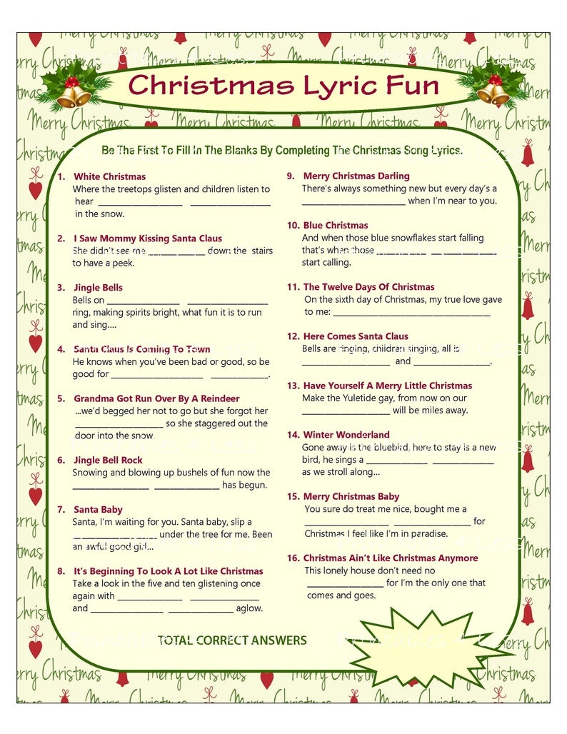Christmas Song Game Christmas Music Game Christmas Carol | Etsy - Christmas Song Scramble Free Printable