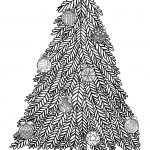 Christmas Tree With Ball Ornaments   Christmas Adult Coloring Pages   Free Printable Christmas Tree Ornaments To Color