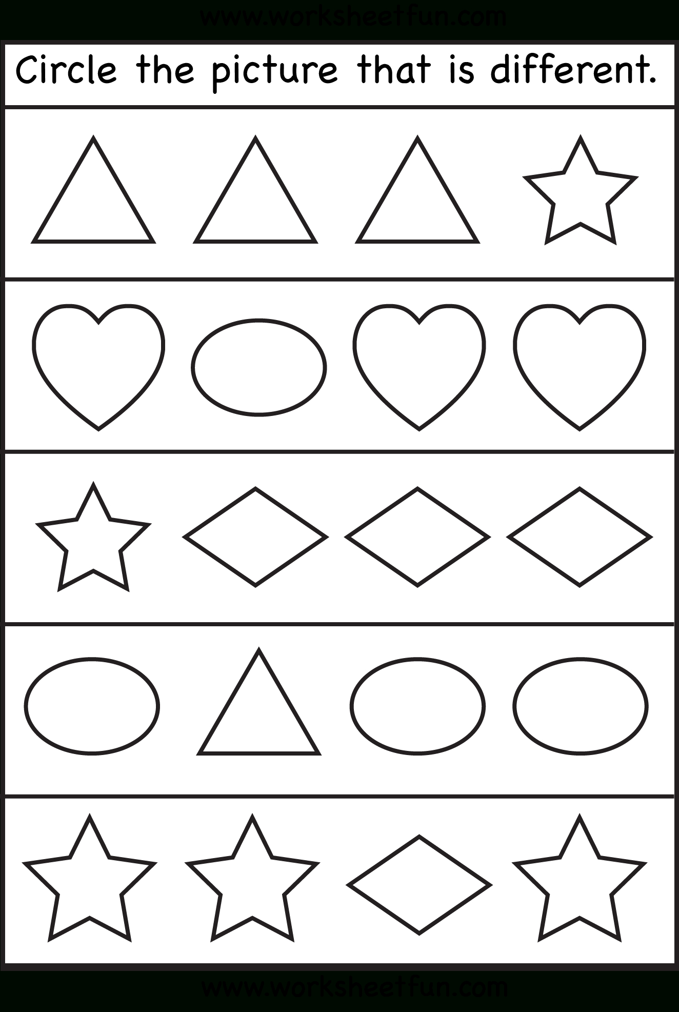 Circle The Picture That Is Different – 1 Worksheet / Free Printable - Free Printable Same And Different Worksheets