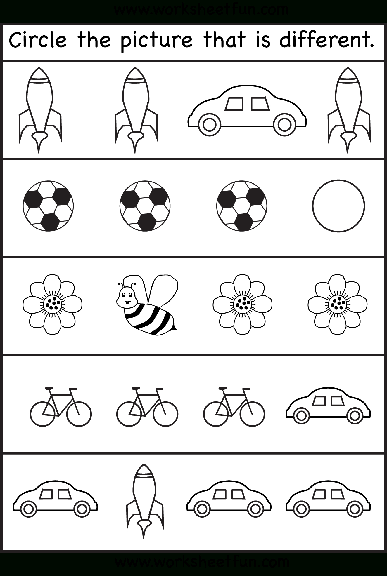 Circle The Picture That Is Different - 4 Worksheets | Preschool Work - Free Printable Toddler Worksheets