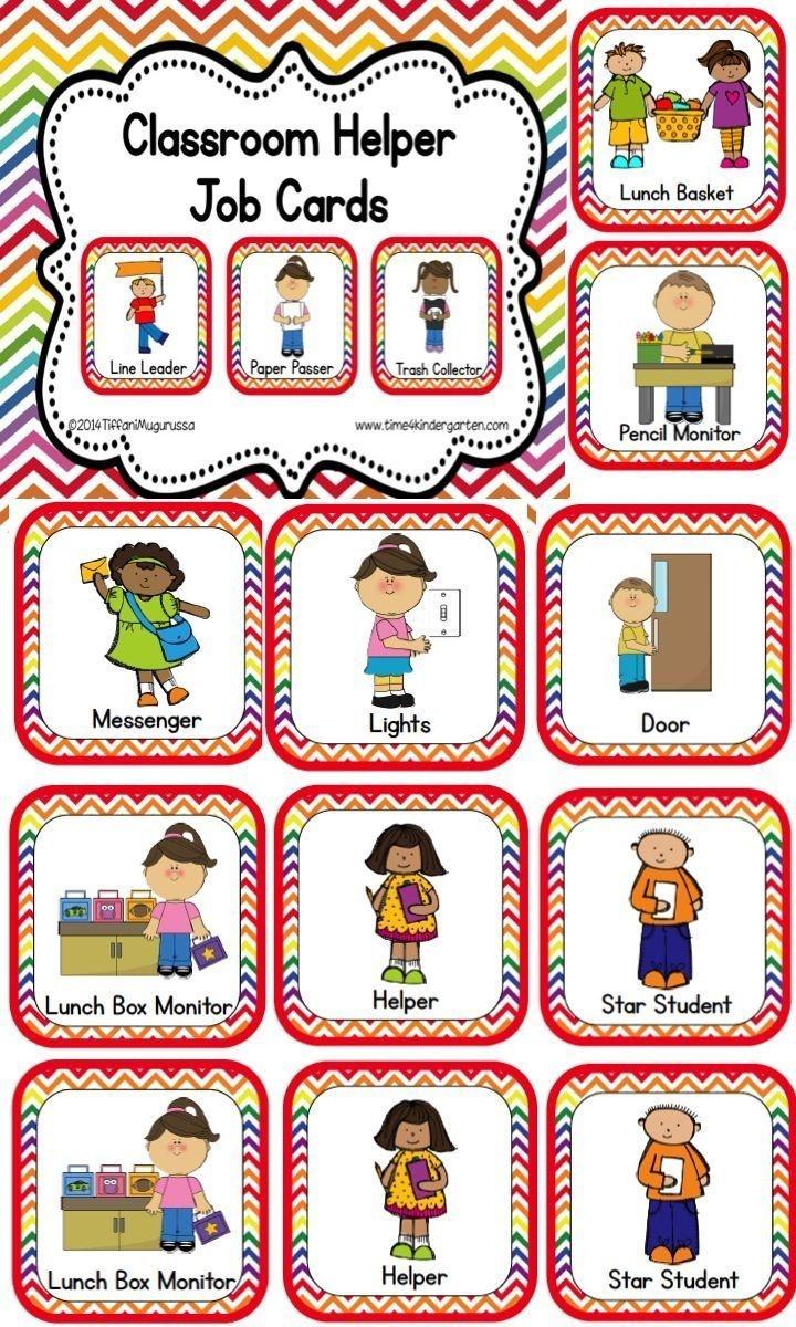 Classroom Helper And Job Cards Rainbow Chevron   Kinderland - Free Printable Classroom Helper Signs