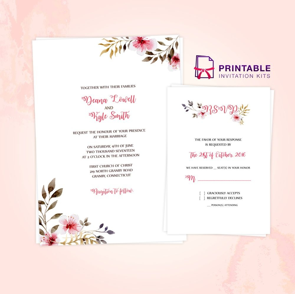 Clean, Delicate Vintage Floral Invitation And Rsvp Printable Pdf - Free Printable Rsvp