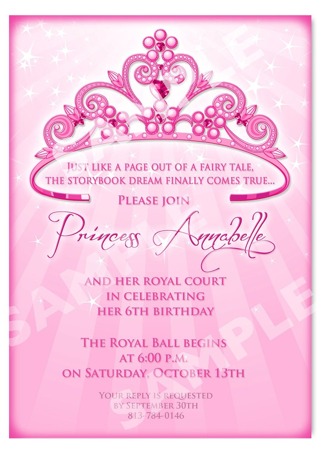 Click On The Free Printable Princess Party Invitation Template To - Free Printable Personalized Birthday Invitation Cards