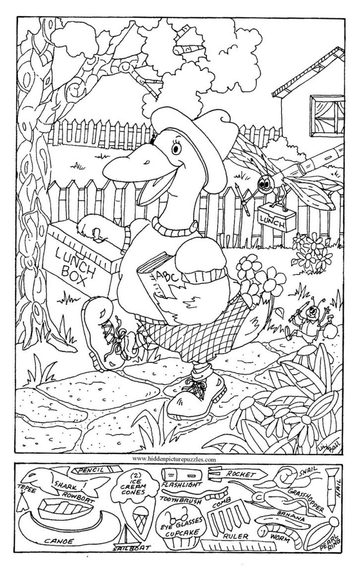 Coloring Page ~ Hidden Object Coloring Pages Summer Fun Picturee - Free Printable Seek And Find